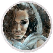 Cornelia Portrait2 Round Beach Towel