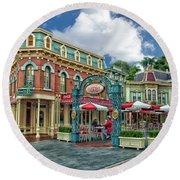 Corner Cafe Main Street Disneyland 01 Round Beach Towel