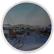 Corner Of 157th St. And 168th Ave. Round Beach Towel