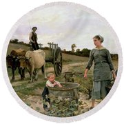 Corner Of A Vineyard Round Beach Towel by Edouard Debat Ponsan