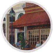 Corner Restaurant Round Beach Towel