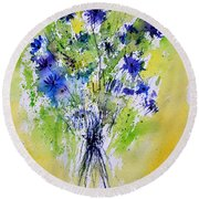 Cornflowers Round Beach Towel