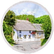 Cornish Thatched Cottage Round Beach Towel