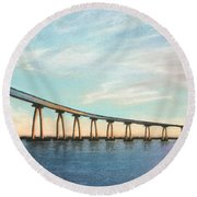 Coronado Bridge Sunset A Round Beach Towel