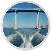 Coronado Bridge Wake Round Beach Towel