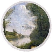 Corot: Cathedral, C1855-60 Round Beach Towel