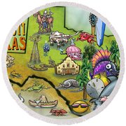 Corpus Christi Texas Cartoon Map Round Beach Towel