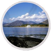Corran Lighthouse Western Shore Loch Linnhe Fort William Scotland Round Beach Towel