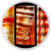 Corrugated Iron Triptych #4 Round Beach Towel