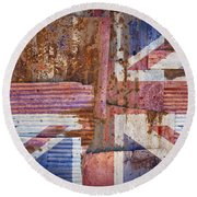 Corrugated Iron United Kingdom Flag Round Beach Towel