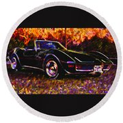 Corvette Beauty Round Beach Towel