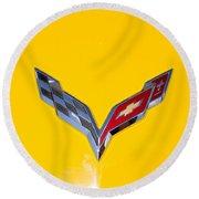 Corvette Emblem On Yellow Round Beach Towel