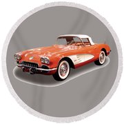 Corvette Tshirt Round Beach Towel