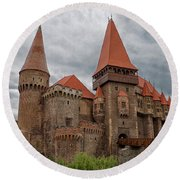 Corvin's Castle Round Beach Towel by Yair Karelic
