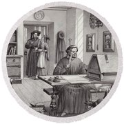 Cosimo Medici Sitting In His Home In Florence Round Beach Towel