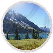 Cosley Ridge Over Cosley Lake - Glacier National Park Round Beach Towel