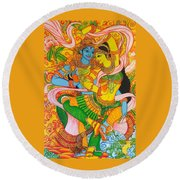 Cosmic Dance Of Krsna  Round Beach Towel