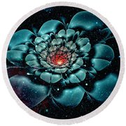 Cosmic Flower Round Beach Towel