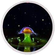 Cosmic Mushroom Round Beach Towel