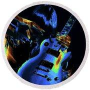 Cosmic Rock Guitar Round Beach Towel