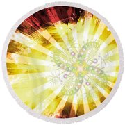 Cosmic Solar Flower Fern Flare 2 Round Beach Towel