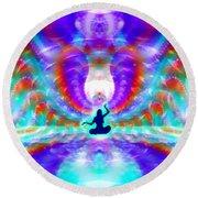 Cosmic Spiral 72 Painted Round Beach Towel by Derek Gedney