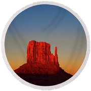 Cosmic Sunset At Monument Valley Round Beach Towel