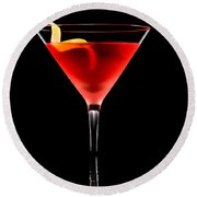 Cosmopolitan Cocktail In Front Of A Black Background  Round Beach Towel
