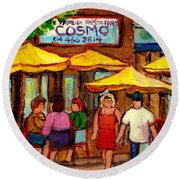 Cosmos  Fameux Restaurant On Sherbrooke Round Beach Towel