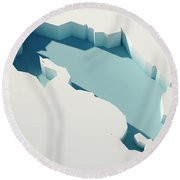 Costa Rica Simple Intrusion Map 3d Render Round Beach Towel