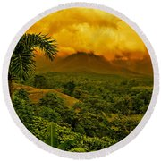 Costa Rica Volcano Round Beach Towel