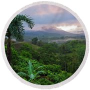 Costa Rica Volcano View Round Beach Towel