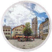 Cosy Old Mountain Village Round Beach Towel