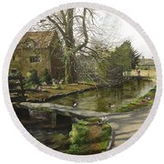 Cotswolds Scene. Round Beach Towel