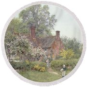 Cottage At Chiddingfold Round Beach Towel by Helen Allingham