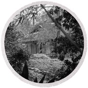 Cottage Black White Gardens Louisiana  Round Beach Towel