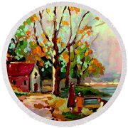 Cottage Country The Eastern Townships A Romantic Summer Landscape Round Beach Towel by Carole Spandau