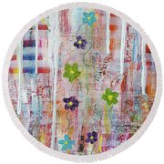 Cottage Flower Garden Round Beach Towel