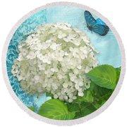 Cottage Garden White Hydrangea With Blue Butterfly Round Beach Towel