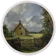 Cottage In A Cornfield Round Beach Towel