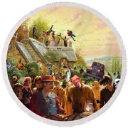 Cottage Of The Living Dead Round Beach Towel