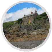 Cottage On Rocks At Port Quin - P4a16009 Round Beach Towel