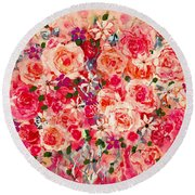 Cottage Roses Round Beach Towel