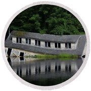Cottage Sinking In The Rideau Canal Round Beach Towel
