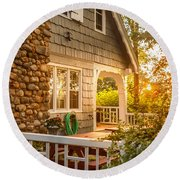 Cottage Sunset In Deep Cove, Nova Scotia Round Beach Towel