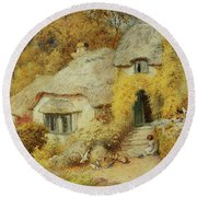 Cottages At Selworthy, Somerset Round Beach Towel