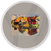 Cottages By A Lake In Autumn  Round Beach Towel