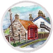 Cottages In Runswick Bay Round Beach Towel
