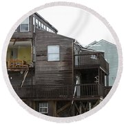 Cottages Of The Past Round Beach Towel