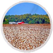 Cotton And The Red Barn Round Beach Towel